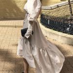 Schulterfreies vokuhila Kleid Leinen